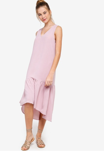 Something Borrowed pink Midi Ruffled Hem Dress 83171AA1551BB8GS_1