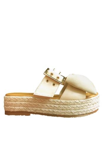 Twenty Eight Shoes 米褐色 蝴蝶厚底拖鞋 VM505 TW446SH71BJWHK_1
