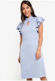972bc945c45 ZALORA blue Mock Neck Flutter Sleeves Dress 979B7AA7753F2BGS_1