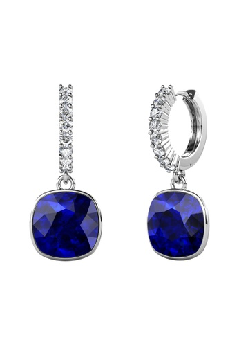 LOVE AND LIFE white Love & Life Callista Square Earrings (White Gold Majestic Blue) Embellished with Swarovski Crystals CE0B5AC7F5DBE9GS_1