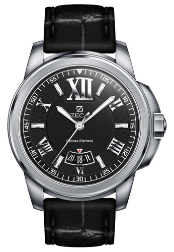 ZECA black and silver Zeca Watches Men Fashion Leather Analog - 261M Silver Black EC832AC8DF0DA4GS_1