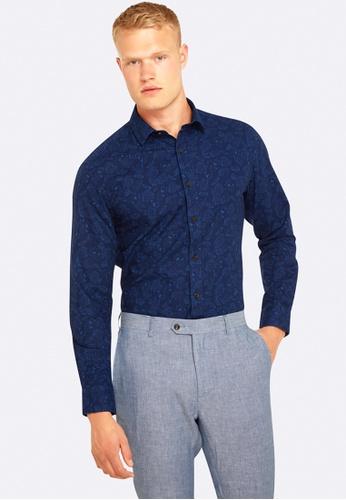 Oxford navy Kenton Regular Fit Ramie Cotton Shirt OX512AA0HB2SSG_1