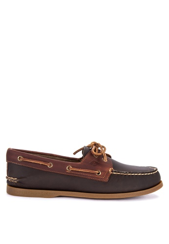 Sperry brown and green A/O 2-Eye Pullup Boat Shoes 221F9SHFA82683GS_1