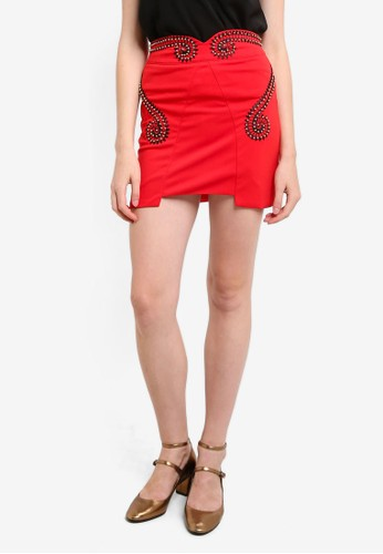 Megane red Tierra Embroidery Beaded Fitted Skirt ME617AA0REJLMY_1