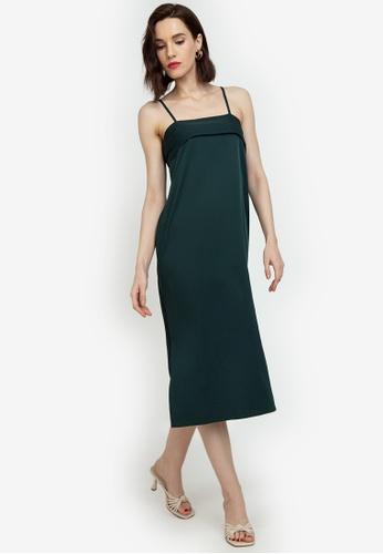 ZALORA WORK green Panel Detail Cami Dress 30414AAE1F07B0GS_1