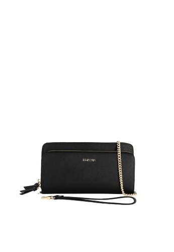 SEMBONIA black SEMBONIA Genuine Leather Accordion Wallet (Black) CF976AC3304569GS_1