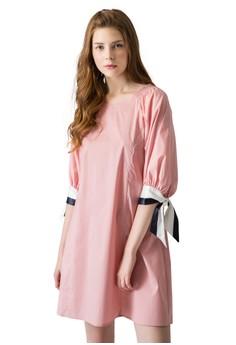 OUWEY歐薇 綁帶配色造型五分袖洋裝