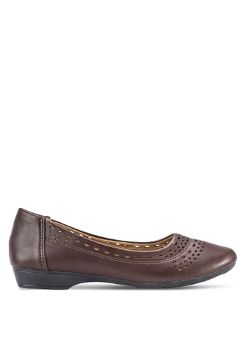 Louis Cuppers brown Perforated Flats LO977SH40BDNMY_1