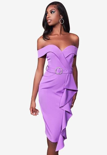 Lavish Alice purple Bardot Ruffle Midi Dress With Diamante Buckle 9FCF1AA42D2A1AGS_1
