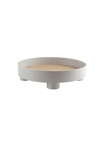 Propstation Basics Accent Round Wooden Decorative Tray Grey 30cm 7FBA0HL4F2A011GS_1