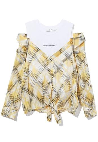 b+ab yellow Plaid cold-shoulder top 88DE1AAD75691FGS_1