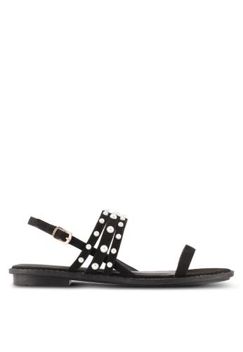 Velvet black Pearl Studded Flat Sandals 600C4SHA8AE103GS_1