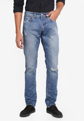 OVS 藍色 刷破直筒牛仔褲 C4CAEAAED398CCGS_1