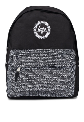 c70a0e4a6f8753 Just Hype black and grey Textured Wool Pocket Backpack CF9FDACD5C48F6GS_1