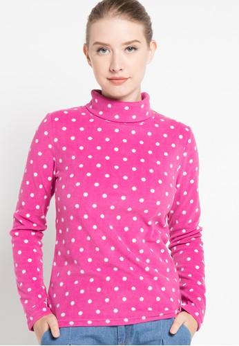 Bossini red L/S High Mock Polka Dots Pattern Lt Wt Micro-Fleece Tee(Bl: 24) BO894AA86SJLID_1