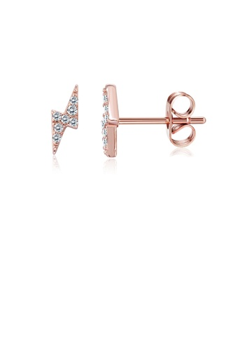Glamorousky white Fashion Simple Plated Rose Gold Lightning Cubic Zircon Stud Earrings CACC3AC6359818GS_1