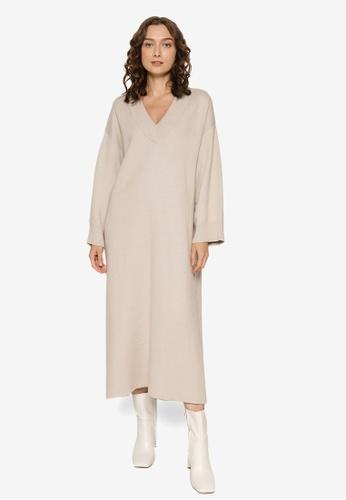 JEANASIS beige V-Neck Dress D6B38AAAF170FEGS_1