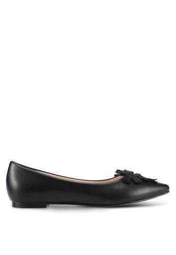 Velvet black Flower Embellished Ballet Flats 7C304SHB1C163FGS_1