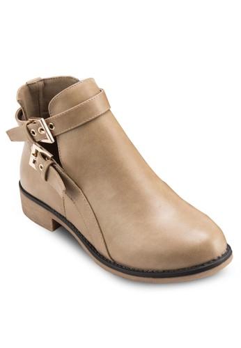 雙扣環鏤空平底短靴, 女鞋,esprit地址 靴子