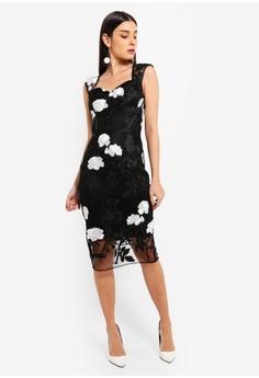 372582a44f Lipsy navy Vip Mono Embroidered Sweetheart Midi Dress 03B08AAA51EA44GS 1