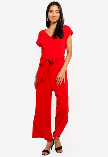 Mela London red Capped Sleeve Culotte Jumpsuit 85B90AAC8AC6F3GS_1