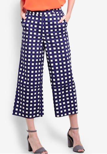WAREHOUSE navy Cropped Gingham Trousers WA653AA77LDMMY_1