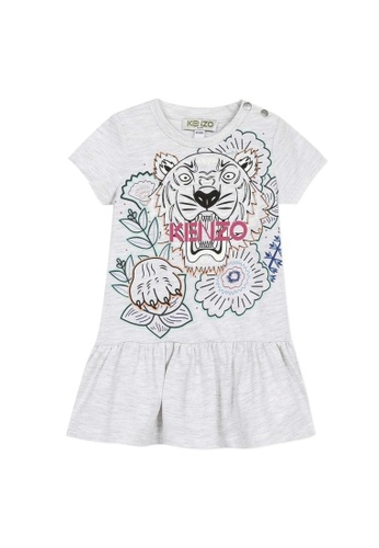 KENZO KIDS grey KENZO TIGER DRESS FOR BABY GIRLS 7DE45KA001B986GS_1