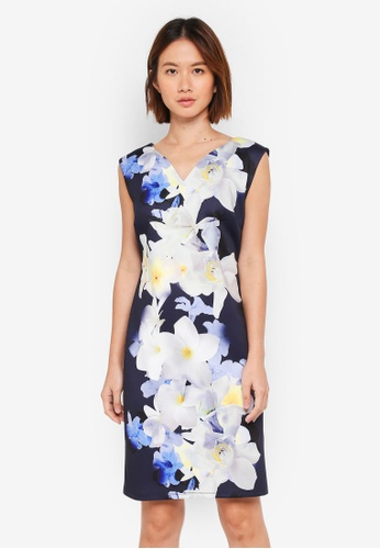 Wallis navy Petite Navy Floral Print Dress 728A4AAFB8119DGS_1