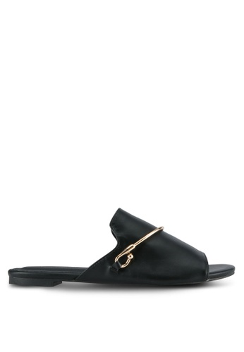 Something Borrowed black Gold Accent Slide Sandals E291ESHD385466GS_1