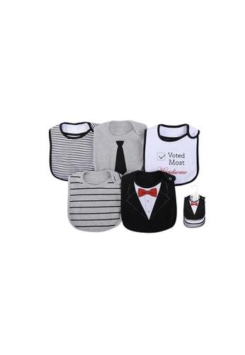 Little Kooma black and grey and white Baby Boy 5pc Interlock/Terry Bibs Set 71056 141B1KC25E1159GS_1