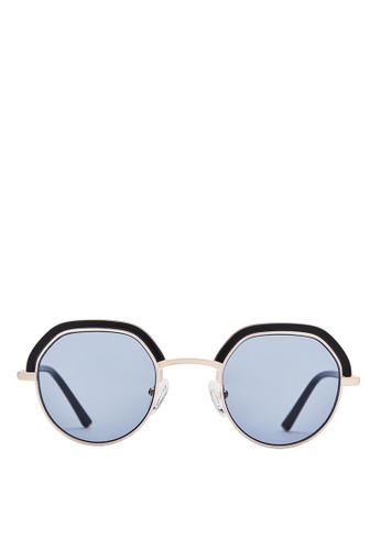 Carin black and blue and gold Denci C1 Round Sunglasses 76420GLB6DDEB6GS_1