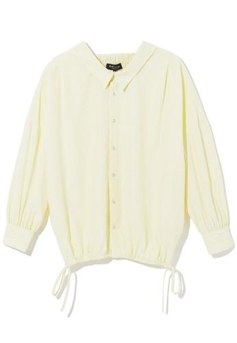 tout à coup yellow Stripe smocked shirt A4572AA73E7427GS_1