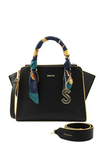 SEMBONIA black Tropical Floral Double Zip Satchel Bag 4A949AC6FAE768GS_1