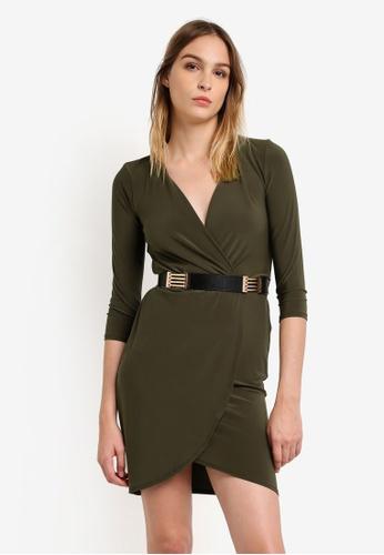 River Island green Green Belted Bodycon Dress RI009AA0RSD5MY_1