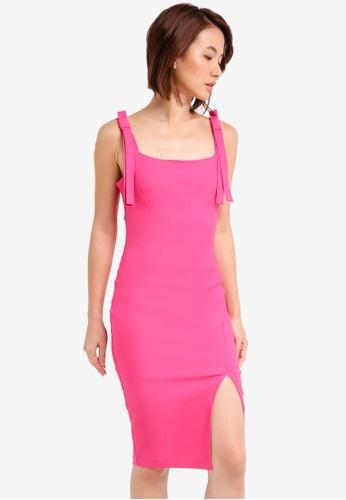 Vesper pink Vesper Gisela Tie Detail Midi Dress 9EFDBAA757BFADGS_1