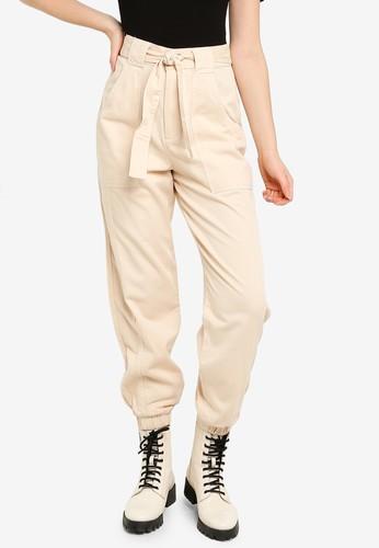 Miss Selfridge beige Ivory Elastic Hem Trousers CF5F6AA057FF3EGS_1