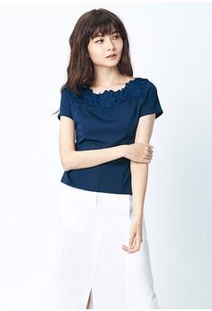 【ZALORA】 OUWEY歐薇 優雅甜美蕾絲圓領上衣