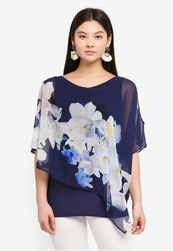 Wallis navy Navy Floral Print Layered Top 83E12AAC0322F0GS_1