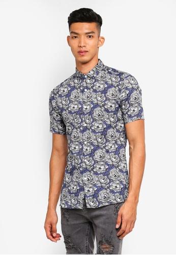 Topman blue Blue Rose Muscle Short Sleeve Shirt E79C8AAD7ABF22GS_1