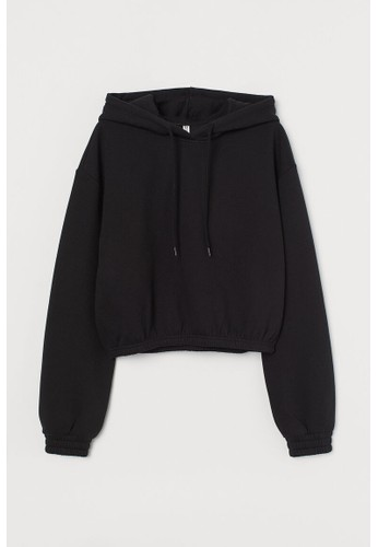 H&M black Boxy hoodie 1420AAA8126355GS_1