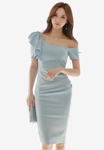 Sunnydaysweety blue Flounce One Shoulder One Piece Dress 69F34AA7B69DB3GS_1