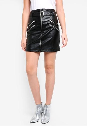 Glamorous black Faux Leather Mini Skirt 739F1AA300E3C8GS_1