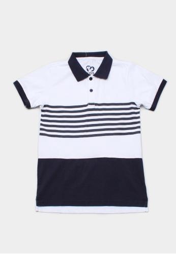 Mini Moley navy Striped Colour Block Boy's Polo T-Shirt 31B5CKA402F87FGS_1
