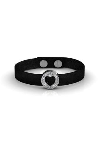 Her Jewellery black Swarovski® Crystals - Heart Leather Bracelet (18K White Gold Plated) Her Jewellery HE581AC0RDQ3MY_1