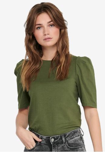 ONLY green Rasha Puff Sleeve Top 922D2AA677457FGS_1
