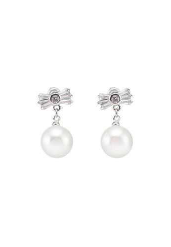 Dandelion silver Ribbon CZ Pearl Dangle Earrings BE95CAC57E45C5GS_1