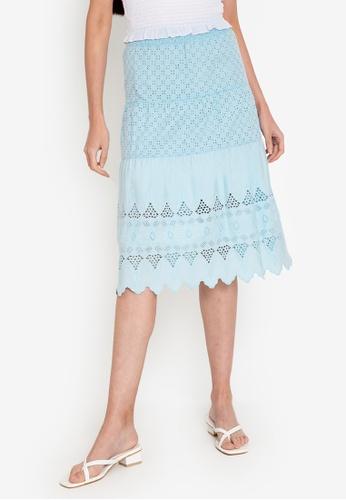 ZALORA BASICS blue Broderie Midi Skirt BC4E3AA4D8524AGS_1