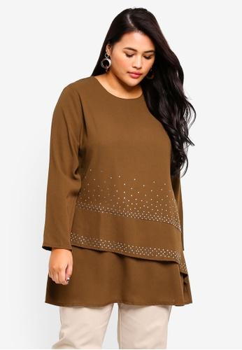 BYN brown Plus Size Muslimah Blouse 476E9AA912E67DGS_1