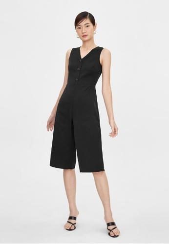 Pomelo black Triple Button Sleeveless Jumpsuit - Black 691A1AA35FC9A9GS_1