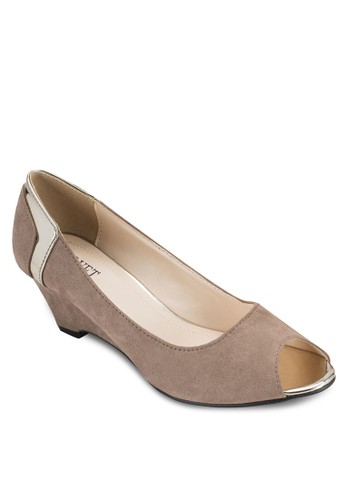 Jenny 金飾露趾低楔型鞋, esprit outlet 家樂福女鞋, 魚口楔形鞋